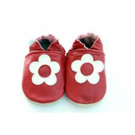 Ruby Red Leather Shoes 0-6 months