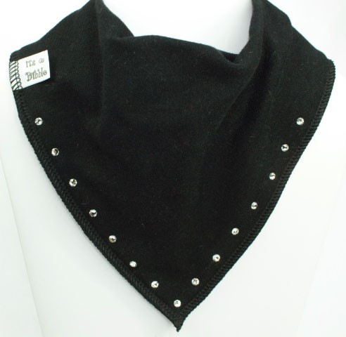 black diamanté baby bib